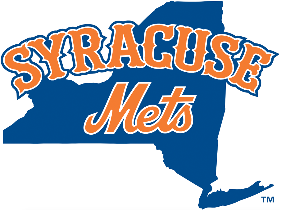 Syracuse Mets Logo Primary Logo (2019-Pres) - Map of the State of New York in blue with SYRACUSE arched above Mets in orange, both in a font similar to their parent/owner New York Mets SportsLogos.Net