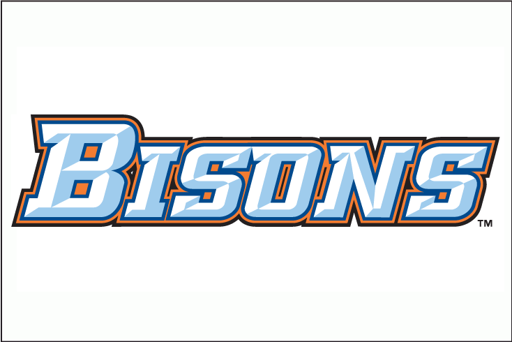 Buffalo Bisons Logo Jersey Logo (2009-2012) - Bisons in white with light blue beveling and blue, orange and black outlines SportsLogos.Net
