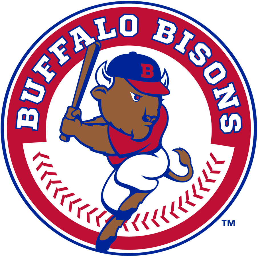 Buffalo Bisons Logo Primary Logo (2013-Pres) - Buster the Bison in a hitting pose inside a red white and blue circle with team name above SportsLogos.Net