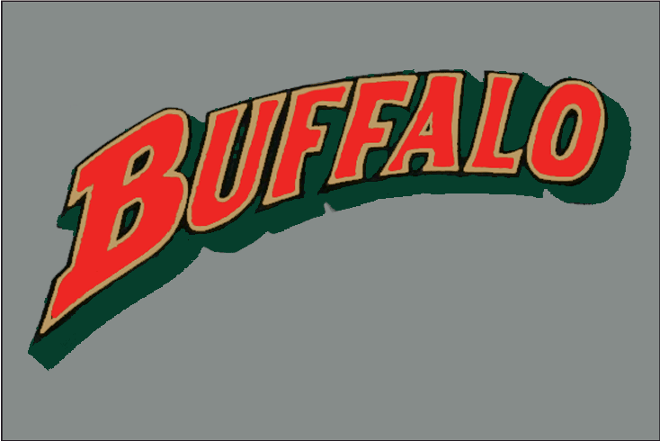 Buffalo Bisons Logo Jersey Logo (1998-2008) - Buffalo in red, gold, and black with green drop shadow on grey.  Worn on Bisons road jersey from 1998-2008 SportsLogos.Net