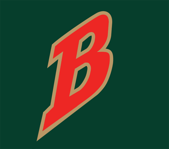 Buffalo Bisons Logo Cap Logo (1998-2003) - Red B outlined in gold on green SportsLogos.Net