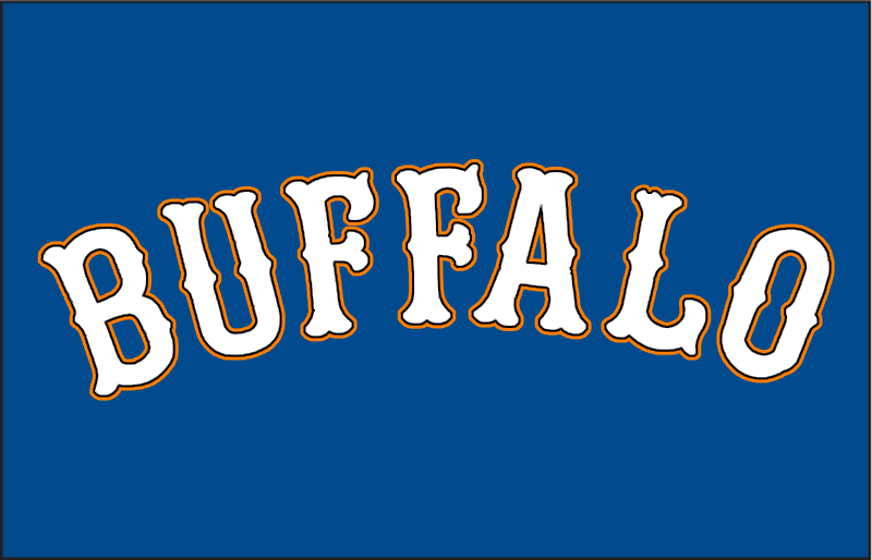 Buffalo Bisons Logo Jersey Logo (2009-2012) - BUFFALO in white outlined in orange and black on blue, mimicking the style of the New York Mets (Bisons MLB affiliate at the time) jerseys of the era SportsLogos.Net