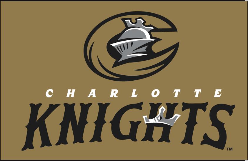 Charlotte Knights Logo Primary Dark Logo (2014-Pres) - Primary on gold SportsLogos.Net