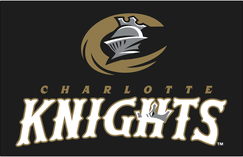 Charlotte Knights Logo Primary Dark Logo (2014-Pres) - Primary on black SportsLogos.Net
