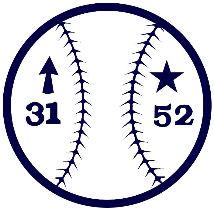 Charlotte Knights Logo Memorial Logo (1993) - Steve Olin and Tim Crews Memorial Patch, a navy blue and white baseball with the numbers 31 and 52. The 31 has an arrow to indicate a rising talent representing Olin, the 52 has a star indicating the all-star Crews. SportsLogos.Net