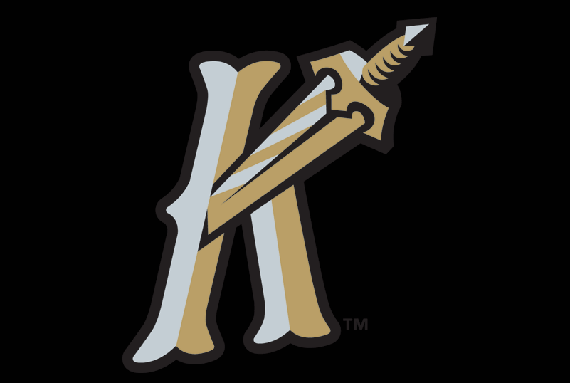 Charlotte Knights Logo Cap Logo (2014-Pres) - Charlotte Knights alternate cap. A silver and gold K (for Knights) with a sword piercing it on black SportsLogos.Net