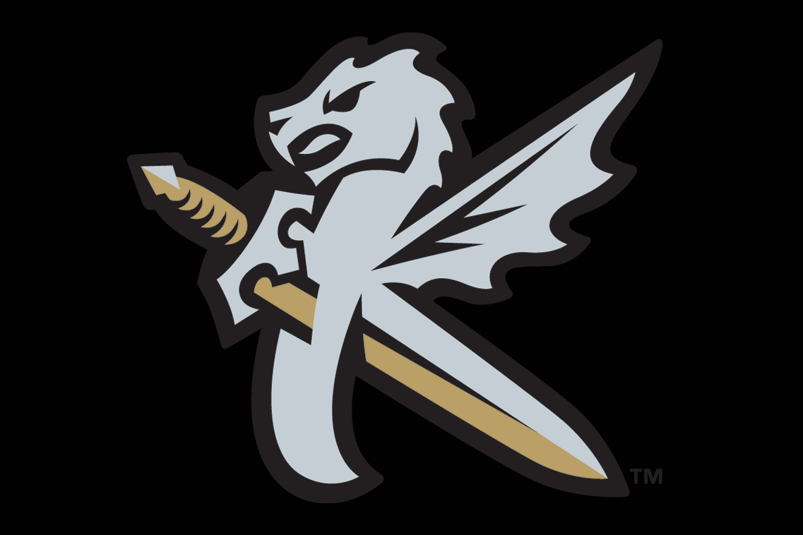 Charlotte Knights Logo Cap Logo (2014-Pres) - Charlotte Knights alternate cap. A silver dragon with wing with a silver and gold sword going through it, together forming the shape of a K for Knights on black SportsLogos.Net