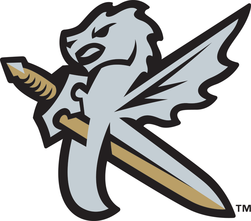 Charlotte Knights Logo Alternate Logo (2014-Pres) - Worn on the front of the Charlotte Knights alternate cap. A silver dragon with wing with a silver and gold sword going through it, together forming the shape of a K for Knights SportsLogos.Net