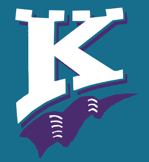 Charlotte Knights Logo Cap Logo (1994-1998) - A white K with the top shaped like that of a castle with a purple drop shadow above a purple pennant with white baseball stitching on a teal background SportsLogos.Net