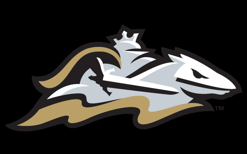 Charlotte Knights Logo Cap Logo (2014-Pres) - Charlotte Knights road cap. A silver knight dressed in full armour riding a horse and holding a sword. A golden cape flowing from the knight on black SportsLogos.Net