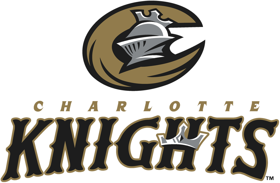 Charlotte Knights Logo Primary Logo (2014-Pres) - A silver knight helmet inside a gold C with team name below in gold and black SportsLogos.Net