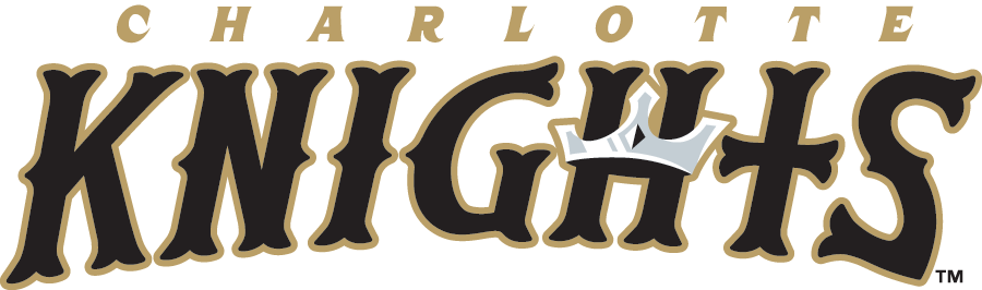 Charlotte Knights Logo Unused Logo (2014) - Knights in black and gold olde-english styled font, a silver crown on the H and the T shaped like a cross. Charlotte written above in gold italics SportsLogos.Net