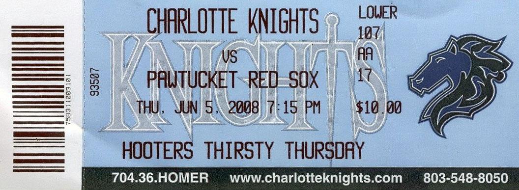 Charlotte Knights Ticket Stub Ticket Stub (2008) - Charlotte Knights vs Pawtucket Red Sox Ticket Stub from June 5, 2008 SportsLogos.Net