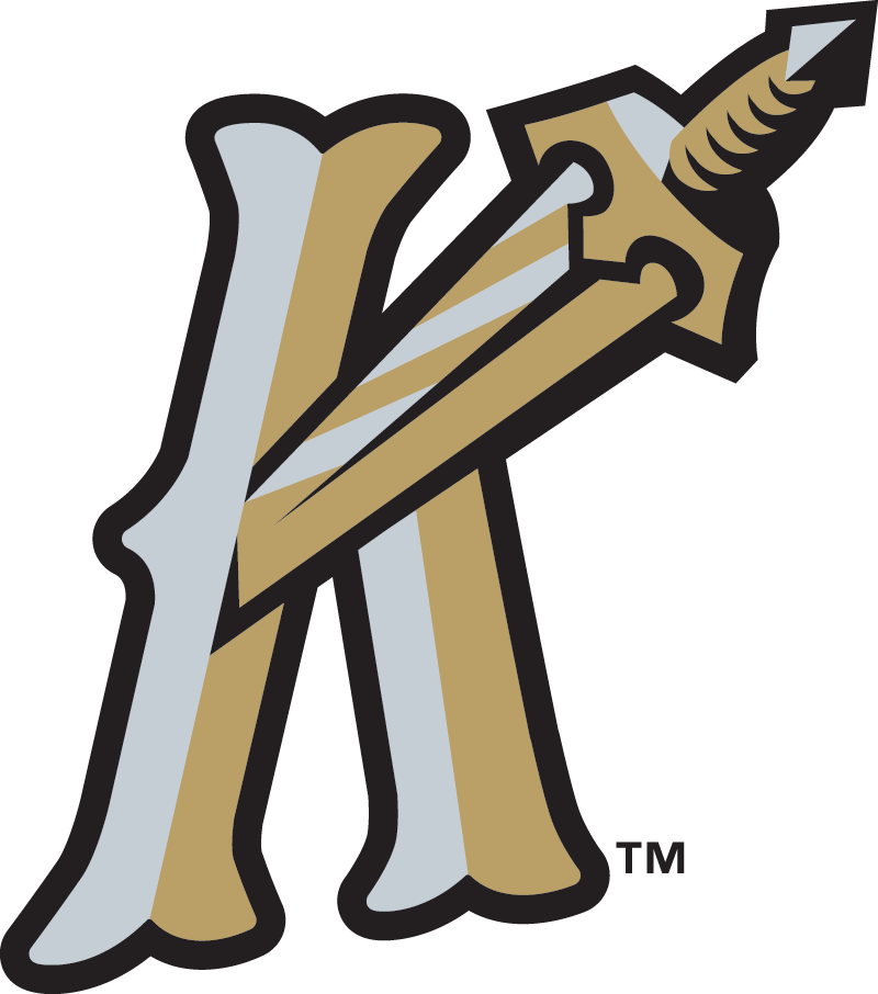 Charlotte Knights Logo Alternate Logo (2014-Pres) - Worn on the front of the Charlotte Knights alternate cap. A silver and gold K (for Knights) with a sword piercing it SportsLogos.Net