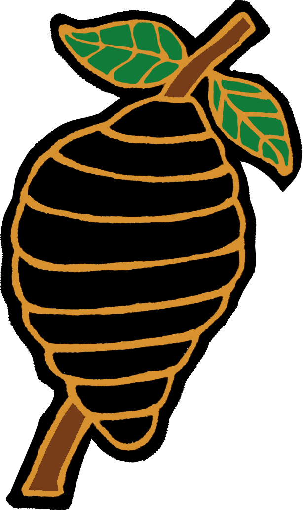 Charlotte Knights Logo Throwback Logo (1993) - Charlotte Hornets Throwback Game. A black and gold beehive on a brown tree branch with a green and yellow leaf SportsLogos.Net