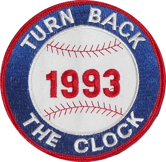 Charlotte Knights Logo Throwback Logo (1993) - Charlotte Hornets Throwback Game. A red, white, and blue patch featuring a baseball and TURN BACK THE CLOCK GAME 1993 on it SportsLogos.Net