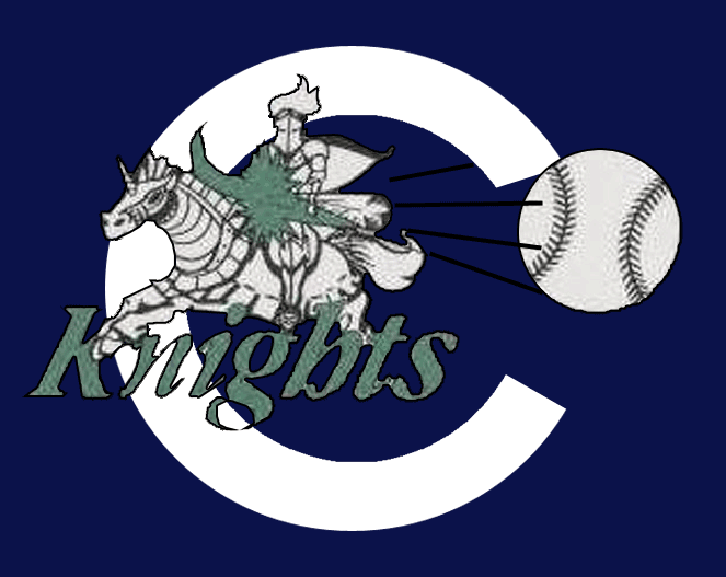 Charlotte Knights Logo Cap Logo (1993) - Worn on the Charlotte Knights navy blue cap during their inaugural International League season in 1993. A white knight on a horse hitting a baseball with a baseball bat on a white C and Knights written below in green. SportsLogos.Net