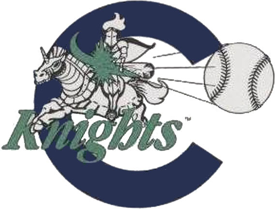 Charlotte Knights Logo Primary Logo (1993-1996) - A blue and white knight riding a horse, both in full armour, hitting a baseball. A blue C in the background, Knights written below in green SportsLogos.Net