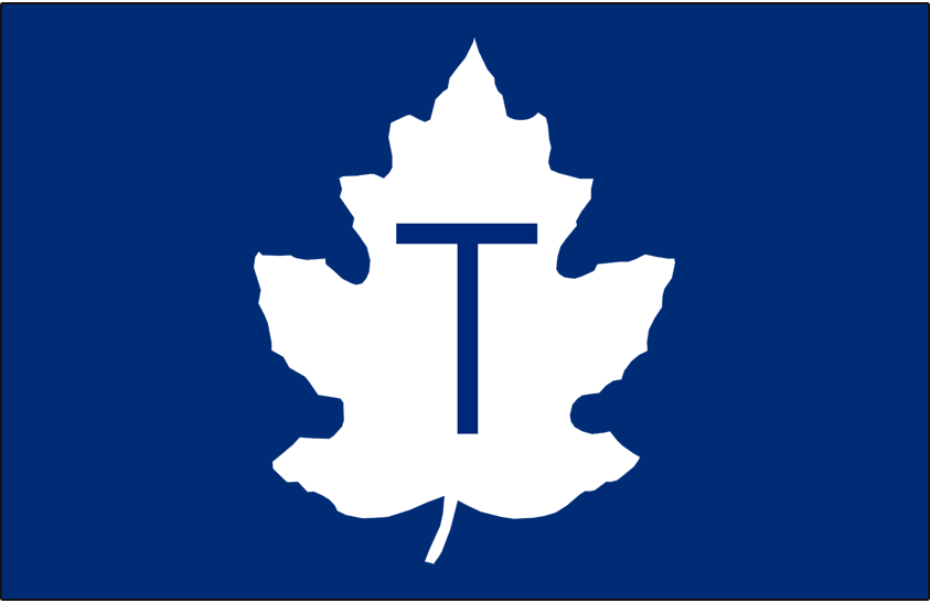 Toronto Maple Leafs Logo Cap Logo (1942-1967) - A white maple leaf with a blue T on blue, worn on the Maple Leafs caps SportsLogos.Net
