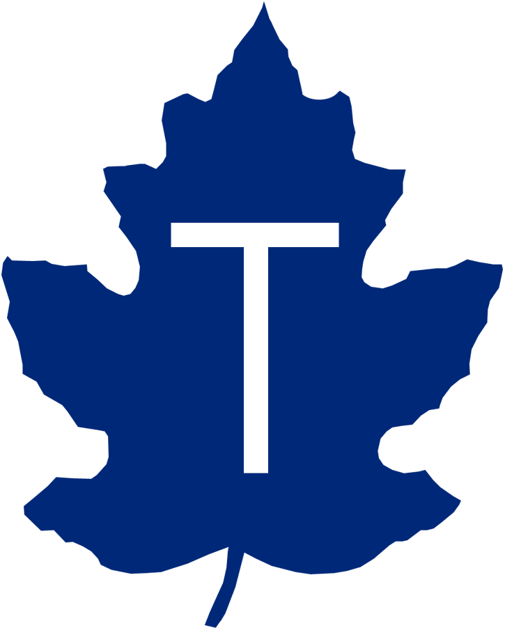 Toronto Maple Leafs Logo Primary Logo (1942-1967) - A blue maple leaf with a white T SportsLogos.Net