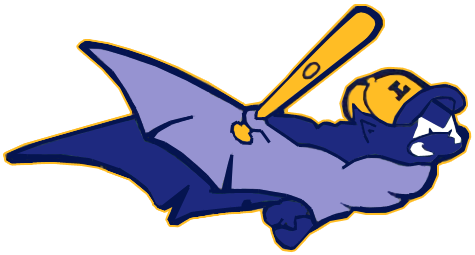 Louisville RiverBats Logo Primary Logo (1999-2001) - A purple bat holding a bat wearing a yellow ball cap with an L on it -- the primary version of this logo actually contained a wordmark above it saying RIVERBATS, we have been unable to find a high-quality version of this SportsLogos.Net