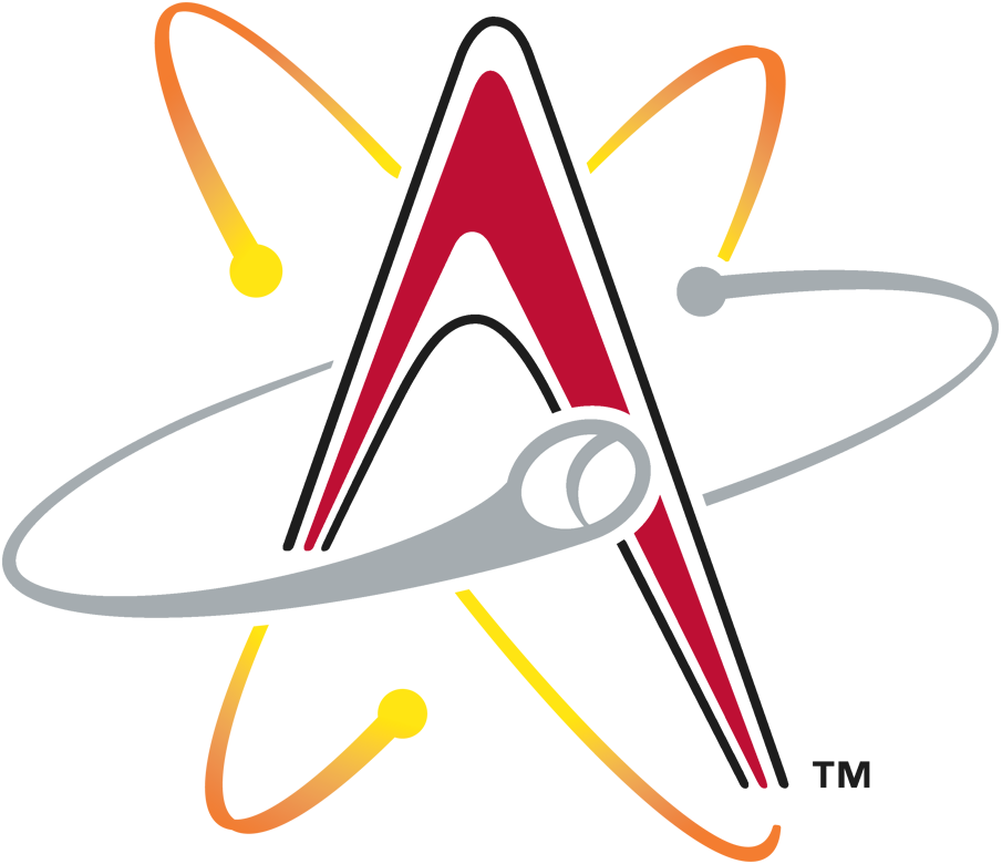 Albuquerque Isotopes Logo Primary Logo (2003-Pres) - A red 'A' with rings and baseballs around it SportsLogos.Net
