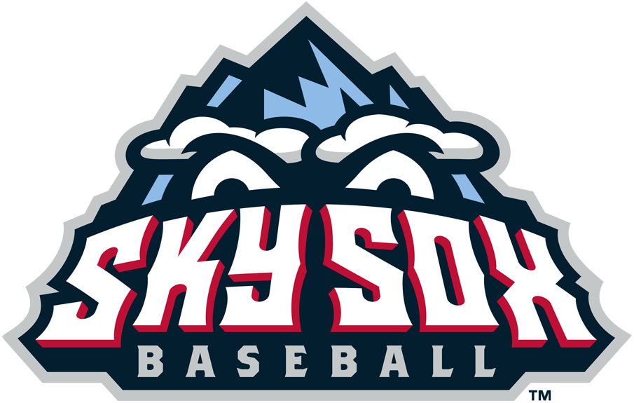 Colorado Springs Sky Sox Logo Primary Logo (2009-2018) - A two-toned blue mountain peak with eyes and Sky Sox Baseball across it in white and red SportsLogos.Net