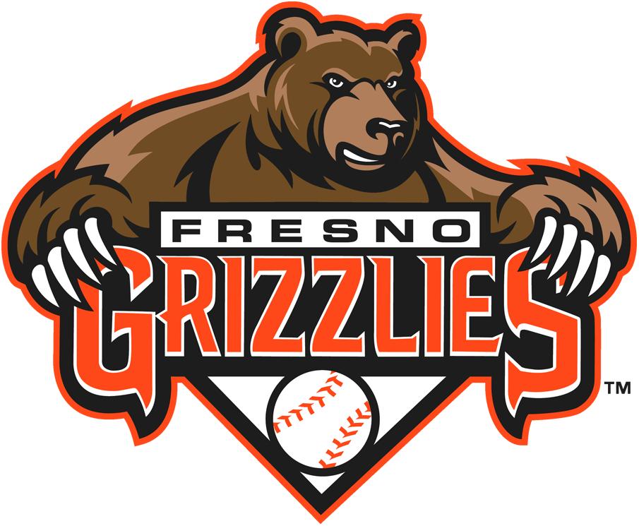 Fresno Grizzlies Logo Primary Logo (2008-2018) - Grizzly bear above team script and a baseball SportsLogos.Net