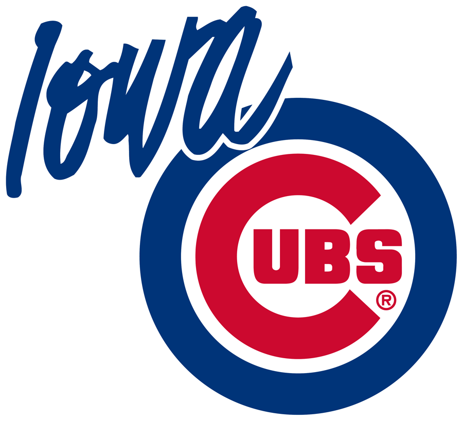 Iowa Cubs Logo Primary Logo (1998-Pres) - The Chicago Cubs logo with Iowa written in blue in the top left SportsLogos.Net