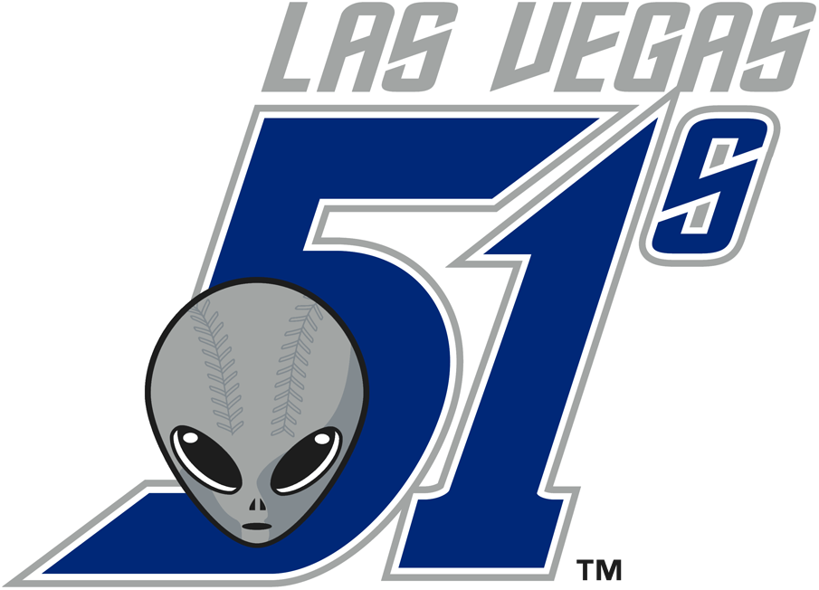 Las Vegas 51s Logo Primary Logo (2001-2018) - An alien head with baseball stitching below 51s in blue SportsLogos.Net