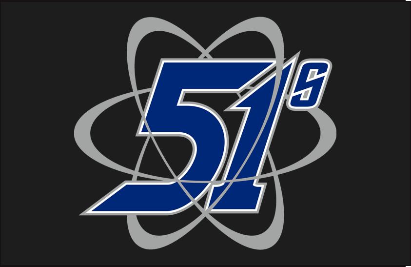 Las Vegas 51s Logo Cap Logo (2001-2008) - (Road) 51s written in blue with grey curves around it on black SportsLogos.Net