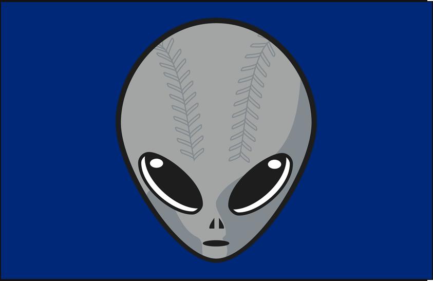 Las Vegas 51s Logo Cap Logo (2001-2018) - (Home) An alien head with baseball stitching on blue SportsLogos.Net