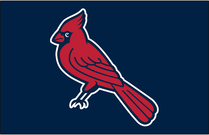Memphis Redbirds Logo Batting Practice Logo (1999-2014) - (Alt) A cardinal perched with a white outline on blue SportsLogos.Net