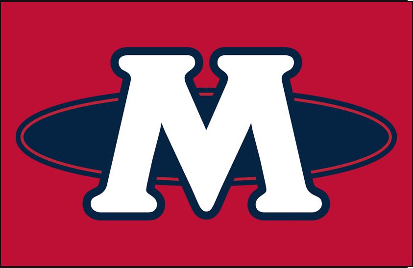 Memphis Redbirds Logo Cap Logo (1998-2007) - (Home) A white M with a blue oval on red SportsLogos.Net