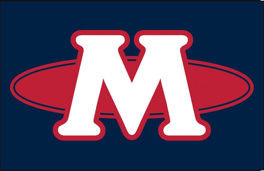 Memphis Redbirds Logo Cap Logo (1998-2007) - (Road) A white M with a red oval on blue SportsLogos.Net