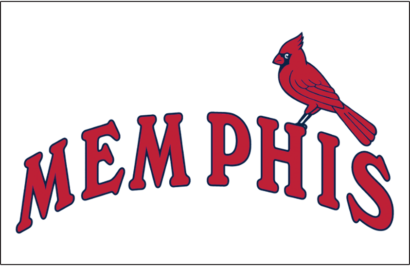 Memphis Redbirds Logo Jersey Logo (1998-2007) - Memphis in arched red script with a cardinal perched on the H SportsLogos.Net
