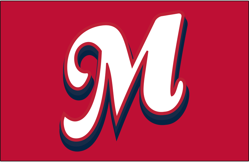 Memphis Redbirds Logo Cap Logo (2008-2014) - (Home) Script M in white with red outline and blue shadow on red SportsLogos.Net