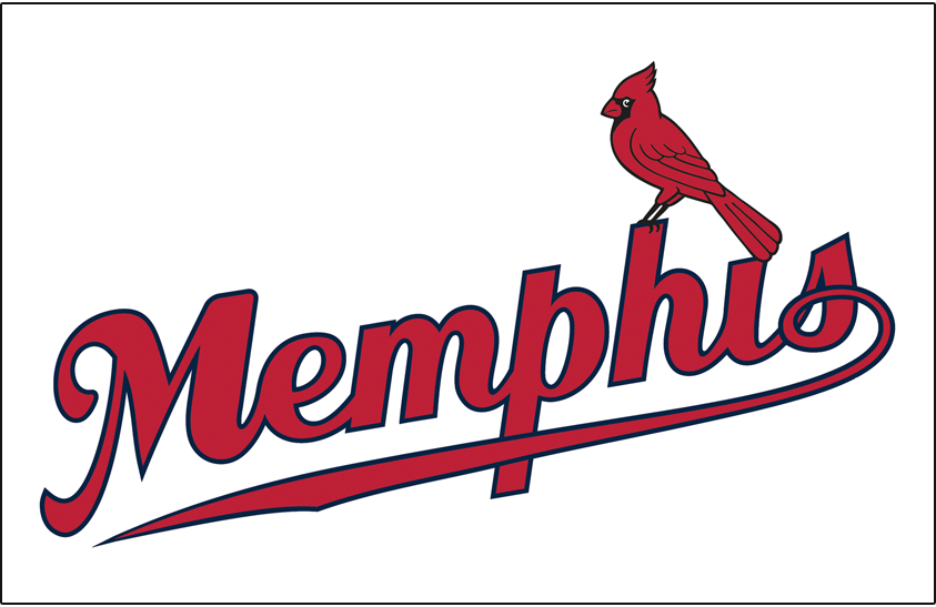 Memphis Redbirds Logo Jersey Logo (2008-2014) - Memphis in red script with blue outline and a cardinal perched on the H SportsLogos.Net