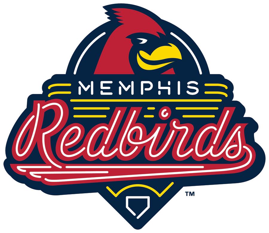 Memphis Redbirds Logo Primary Logo (2017-Pres) - A cardinal on a neon sign SportsLogos.Net