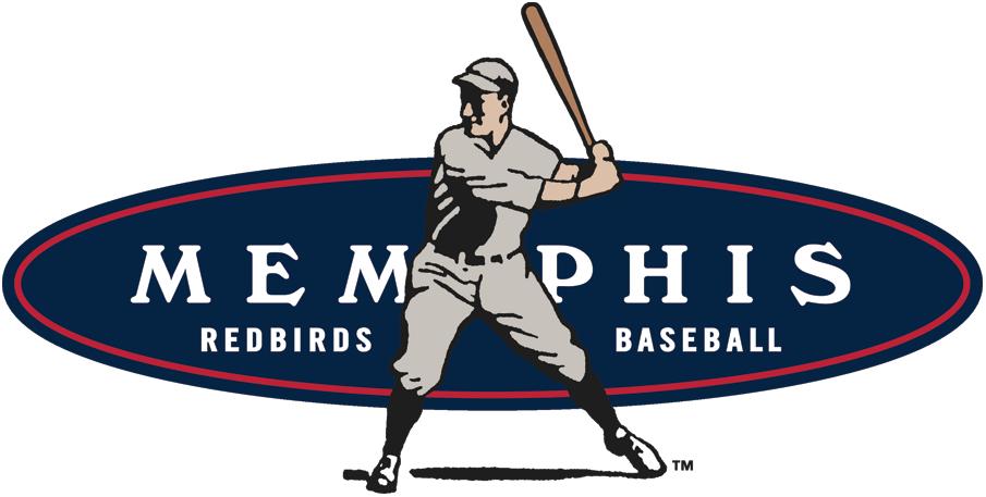 Memphis Redbirds Logo Primary Logo (1998-2014) - An old fashioned baseball player batting over a blue oval SportsLogos.Net