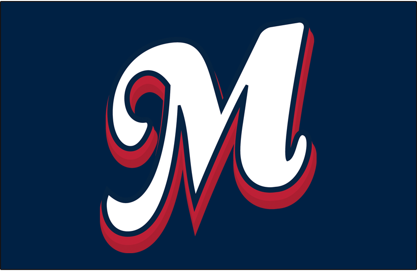 Memphis Redbirds Logo Cap Logo (2008-2014) - (Road) Script M in white with blue outline and red shadow on blue SportsLogos.Net