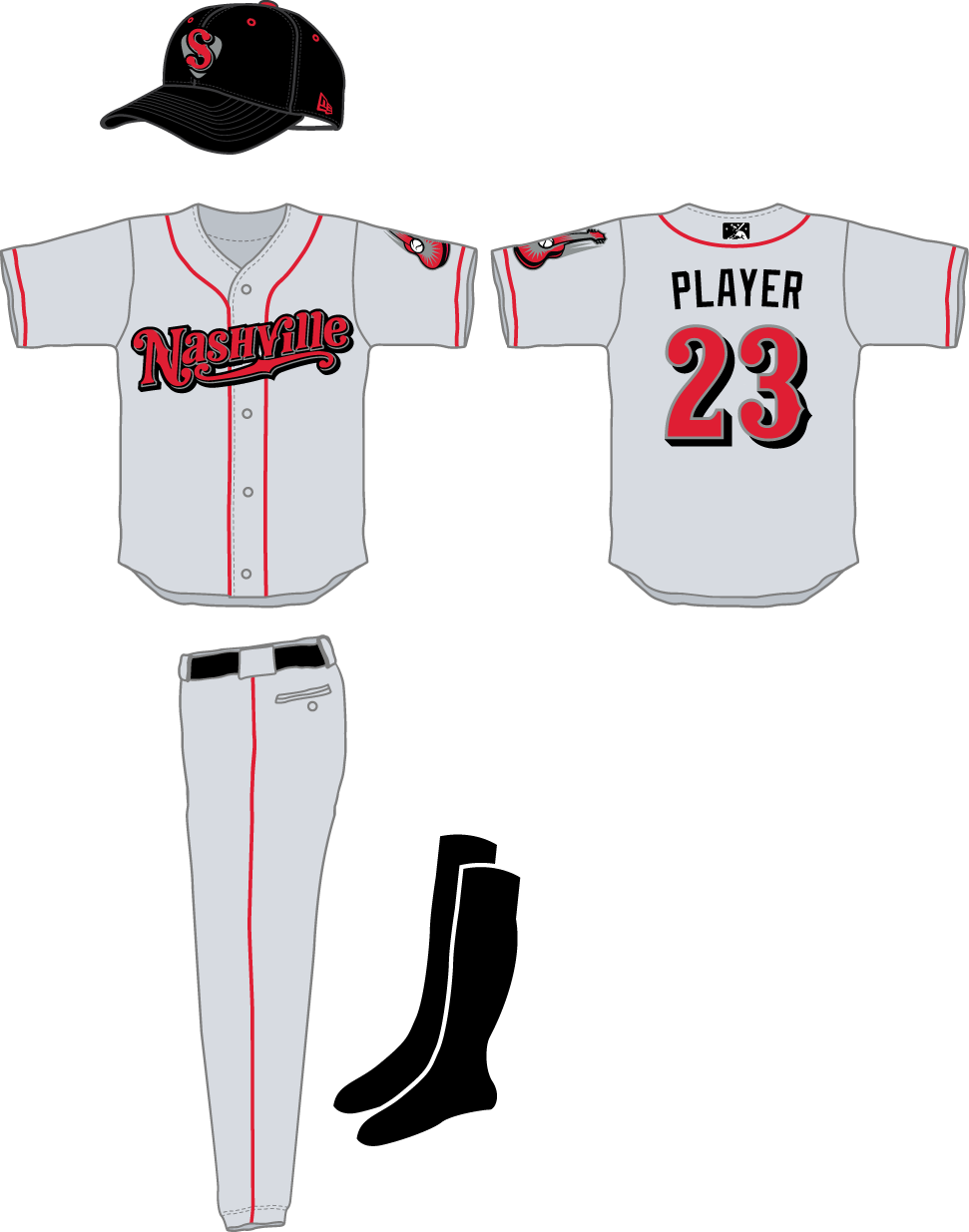 Nashville Sounds Uniform Road Uniform (2015-2018) -  SportsLogos.Net
