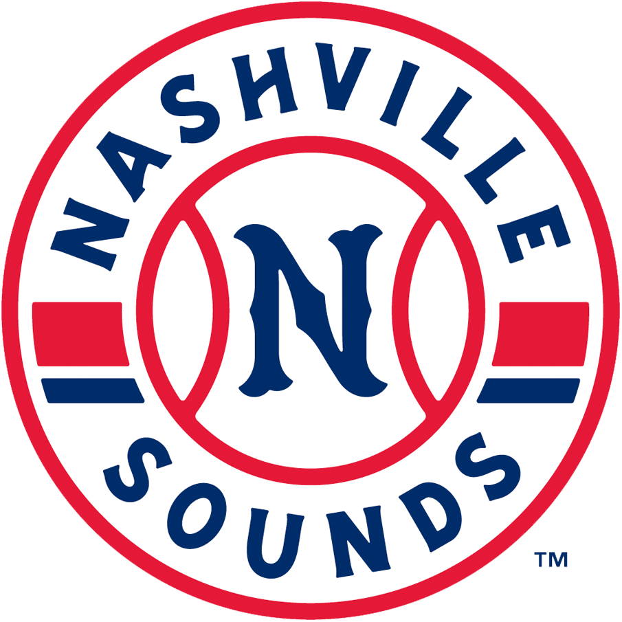 Nashville Sounds Logo Primary Logo (2019-Pres) - A blue N inside a baseball and team name around it SportsLogos.Net