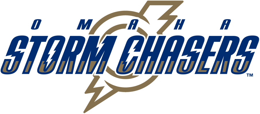 Omaha Storm Chasers Logo Primary Logo (2011-Pres) - Omaha in royal above Storm Chasers in royal and gold over a lightning bolt striking an O in gold SportsLogos.Net