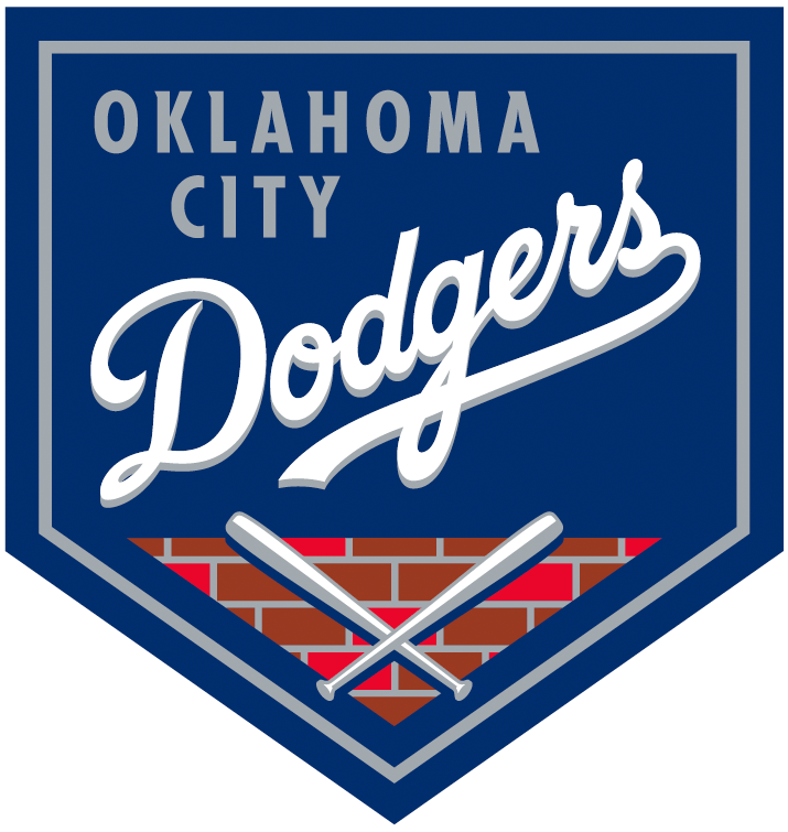 Oklahoma City Dodgers Logo Primary Logo (2015-Pres) - Home plate with Dodgers script across the front. Two crossed bats below on a brick pattern -- bricks represent home stadium of Chicksaw Bricktown Ballpark SportsLogos.Net