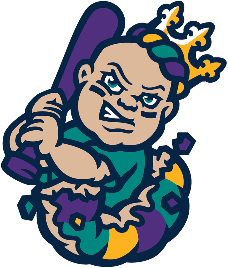 New Orleans Baby Cakes Logo Alternate Logo (2017-Pres) - A baby wearing a crown holding a baseball bat busting out of a king cake SportsLogos.Net