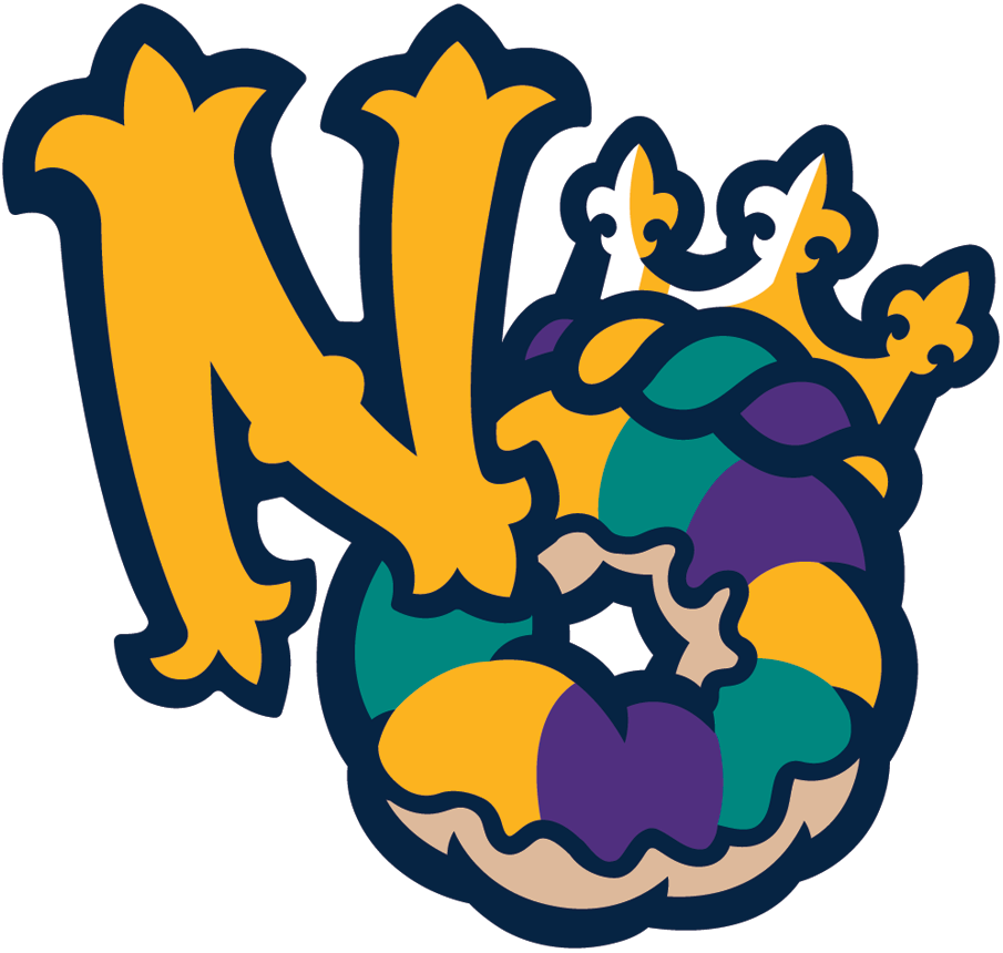 New Orleans Baby Cakes Logo Alternate Logo (2017-Pres) - NO (for New Orleans) with the O as a king cake wearing a crown SportsLogos.Net
