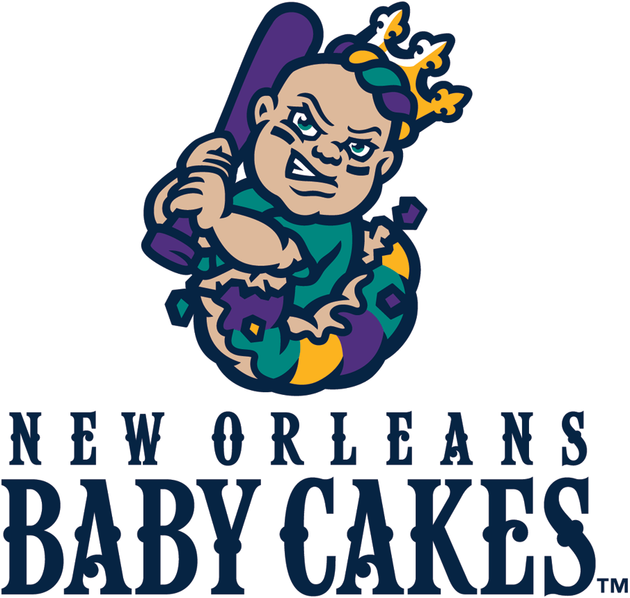 New Orleans Baby Cakes Logo Primary Logo (2017-Pres) - A baby wearing a crown and holding a baseball bat busting out of a king cake, team name below in yellow SportsLogos.Net