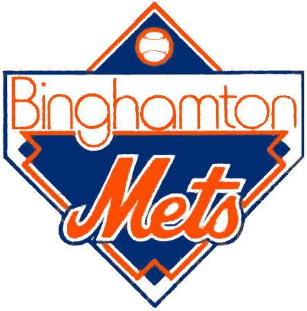 Binghamton Mets Logo Primary Logo (1992-1994) - Mets scripted in orange on a blue diamond, BINGHAMTON above in orange SportsLogos.Net