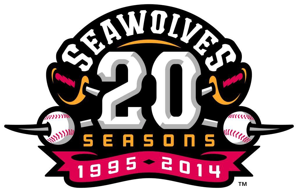 Erie SeaWolves Logo Anniversary Logo (2014) - Erie SeaWolves 20th season logo - crossed swords piercing baseballs behind a 20 SportsLogos.Net